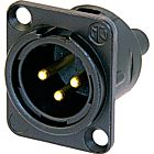 Neutrik NC3MD-S-1-B Male 3-Pin XLR Chassis Connector with Screw Terminals (Black/Gold)