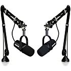 Shure MV7-K Dual Podcasting Microphones with Rode PSA1 Mic Boom Arms Bundle (Black)