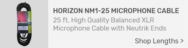 Horizon NM1-25 Microphone Cable with Neutrik XLR Connectors