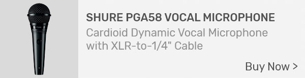 """Shure PGA58 Vocal Microphone with XLR to 1/4"""" Cable"""