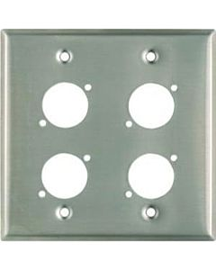 Whirlwind WP2/4NDH 2-Gang Wall Plate for 4 Neutrik XLRs