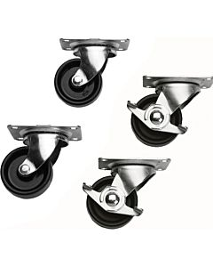 Middle Atlantic 5WL Casters for Slim 5 Rack (Commercial, 2 Locking)