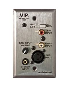 Whirlwind MIP3S - 1 Gang Media Input Plate with XLR, 3.5mm TRS, Dual RCA, Level Control (Stainless)