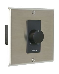 Lowell 150LVCS-DSB Stereo Volume Control with Wall Plate (Stainless Steel & Black)