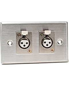 CAD 40-348 - Stainless Steel Dual 3-Pin XLR-F Connectors on Duplex Wall Plate