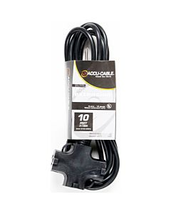American DJ EC163-3FER10 10 Foot 3-Wire 16-Gauge Edison AC Extension Cord with Three Plugs