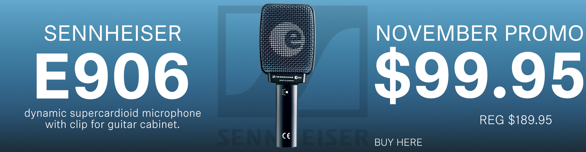 Sennheiser's Mic of the Month - e906 Dynamic Supercardioid Microphone w/ Clip for Cabinets